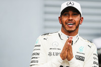 Lewis Hamilton, Mercedes AMG F1, after securing a record breaking 69th pole position