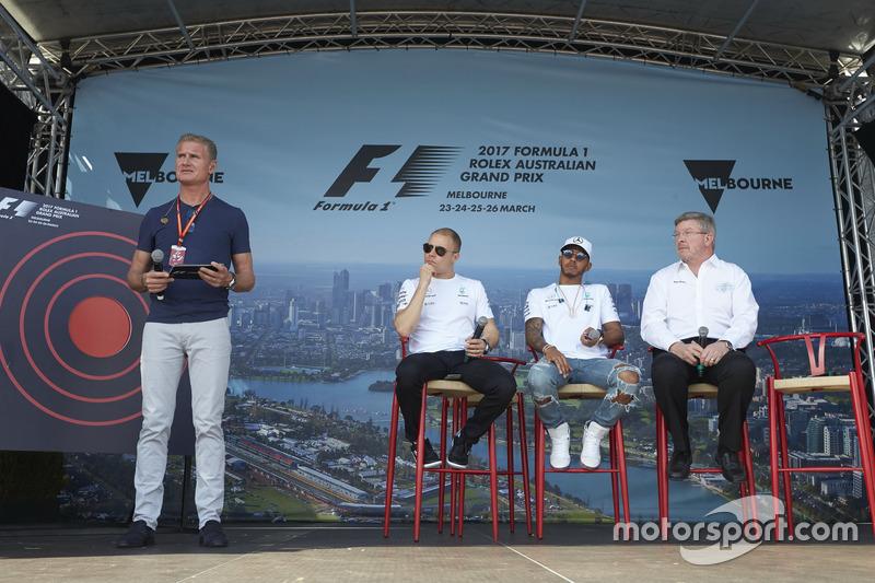 David Coulthard, Channel 4 F1, entrevista a Valtteri Bottas, Mercedes AMG, Lewis Hamilton, Mercedes AMG, y Ross Brawn