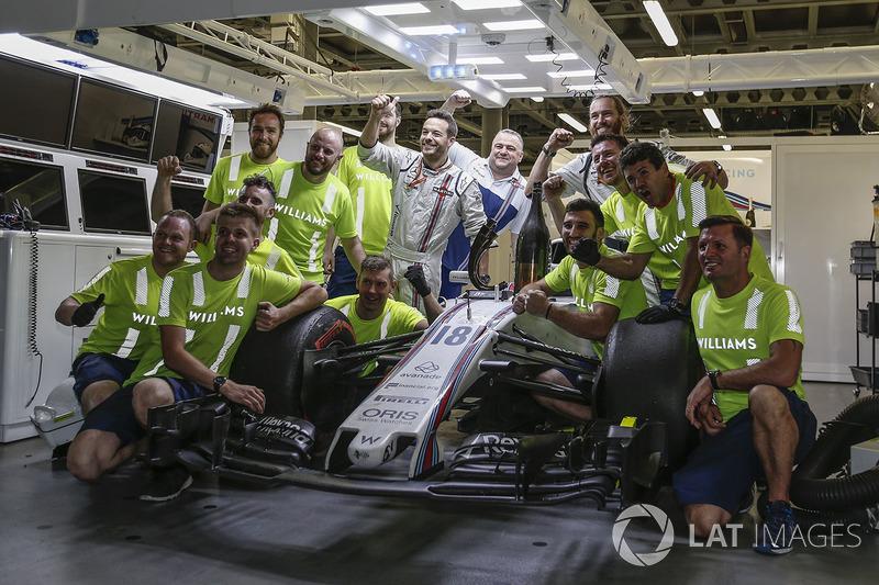 Williams feiert mit dem Auto von Lance Stroll, Williams FW40