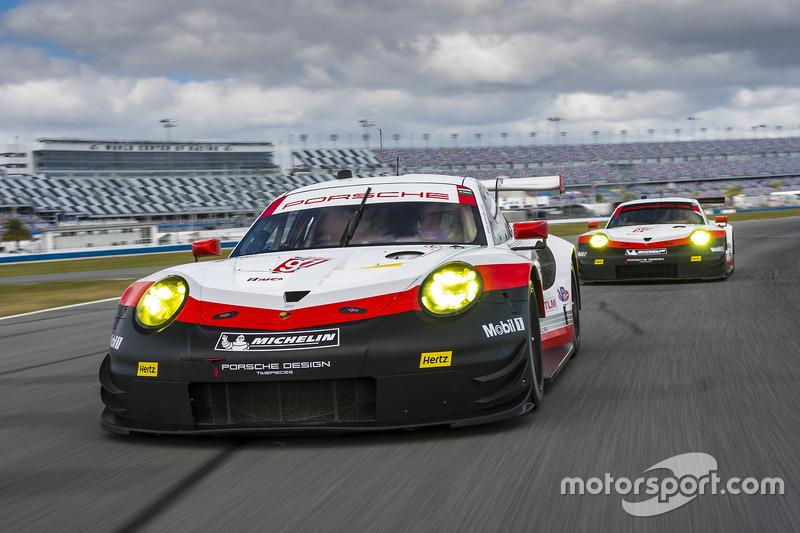 #911 Porsche Team North America, Porsche 911 RSR: Patrick Pilet, Dirk Werner, Frederic Makowiecki; #912 Porsche Team North America, Porsche 911 RSR: Kevin Estre, Laurens Vanthoor, Richard Lietz