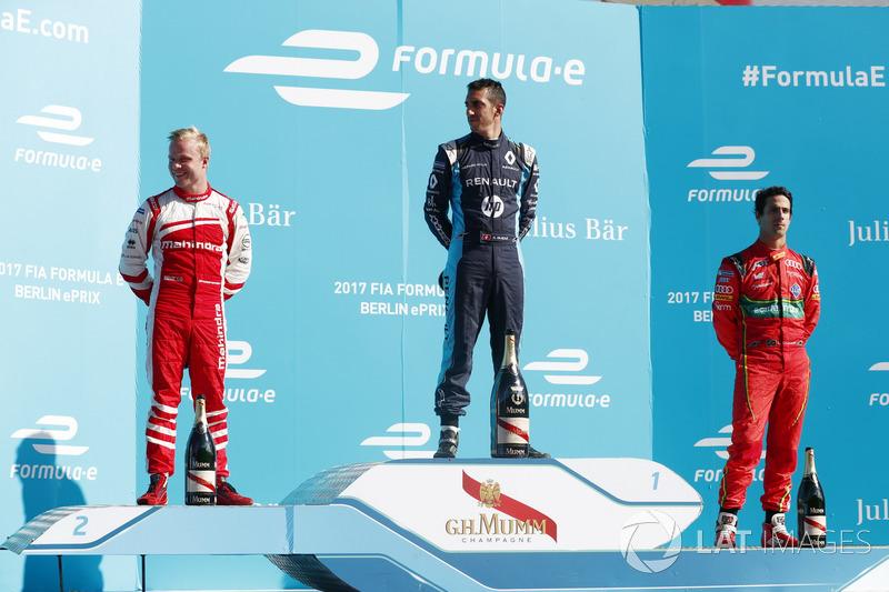 Podium: 1. Sébastien Buemi, Renault e.Dams; 2. Felix Rosenqvist, Mahindra Racing; 3. Lucas di Grassi