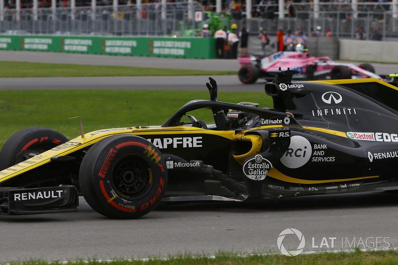 Nico Hulkenberg, Renault Sport F1 Team R.S. 18, saluta alla fine della gara