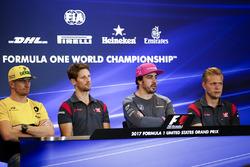 Nico Hulkenberg, Renault Sport F1 Team, Romain Grosjean, Haas F1 Team, Fernando Alonso, McLaren, Kevin Magnussen, Haas F1 Team, in the press conference
