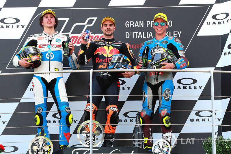 Podium: race winner Miguel Oliveira, Red Bull KTM Ajo Moto2, second place Lorenzo Baldassarri, Pons HP40 Miguel Oliveira, third place Joan Mir, Marc VDS Moto2