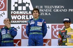 Podium: winner Nelson Piquet, Benetton Ford, second place Roberto Moreno, third place Aguri Suzuki, Lola Lamborghini
