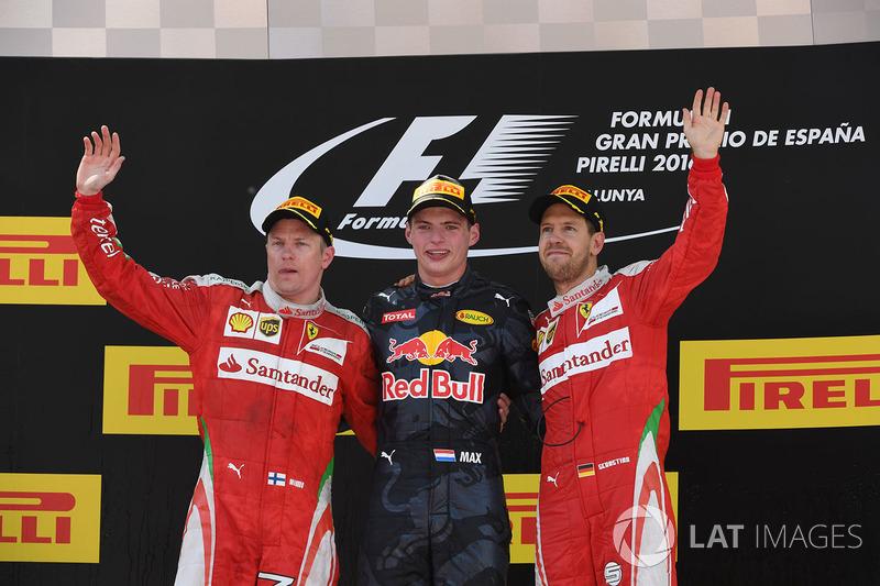 Podium: 1. Max Verstappen, Red Bull; 2. Kimi Raikkonen, Ferrari; 3. Sebastian Vettel, Ferrari