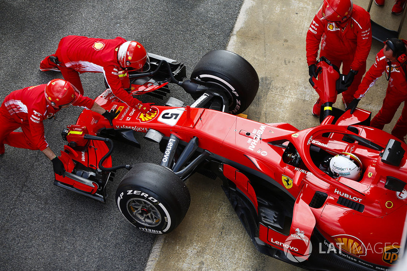 Sebastian Vettel, Ferrari, in the pit lane