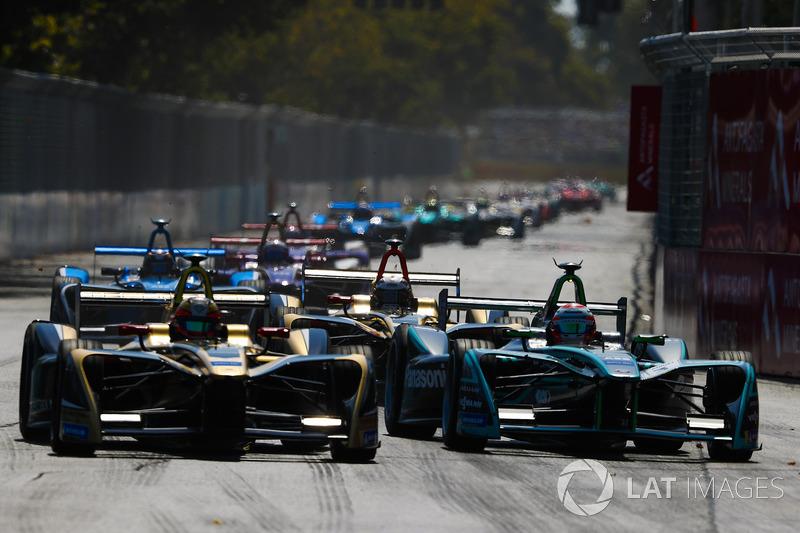 Jean-Eric Vergne, Techeetah, battles with Nelson Piquet Jr., Jaguar Racing