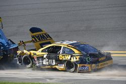 Erik Jones, Joe Gibbs Racing Toyota shows damage after a crash