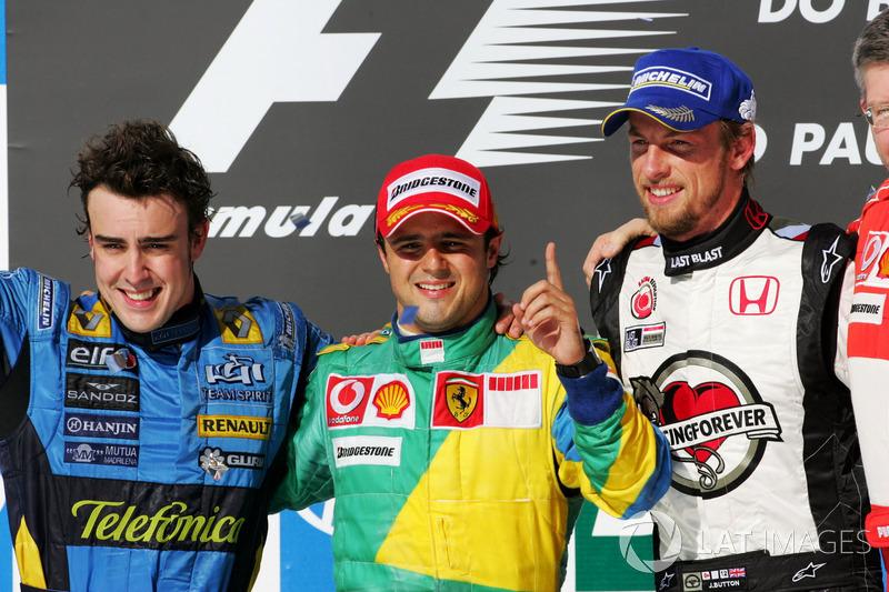 2006: 1. Felipe Massa, 2. Fernando Alonso, 3. Jenson Button