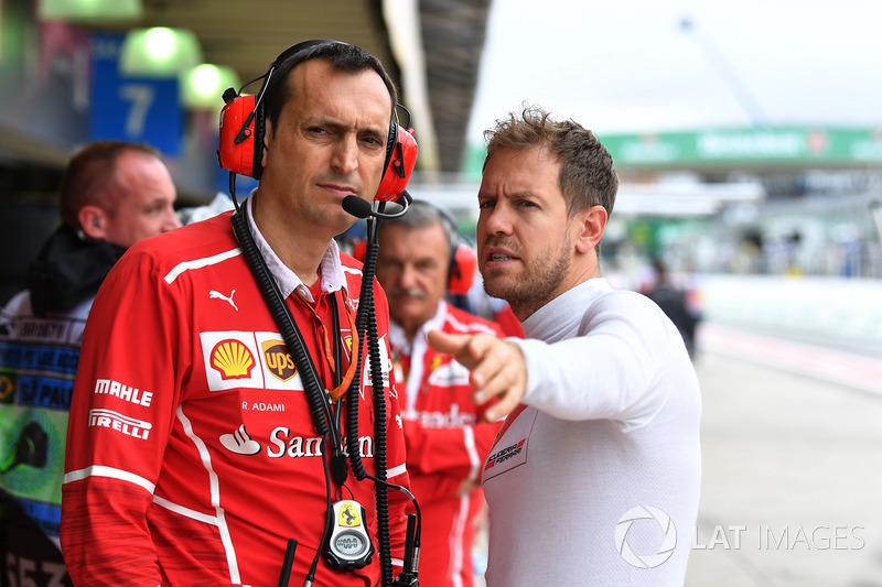 Riccardo Adami, Ferrari ingeniero de carrera y Sebastian Vettel, Ferrari