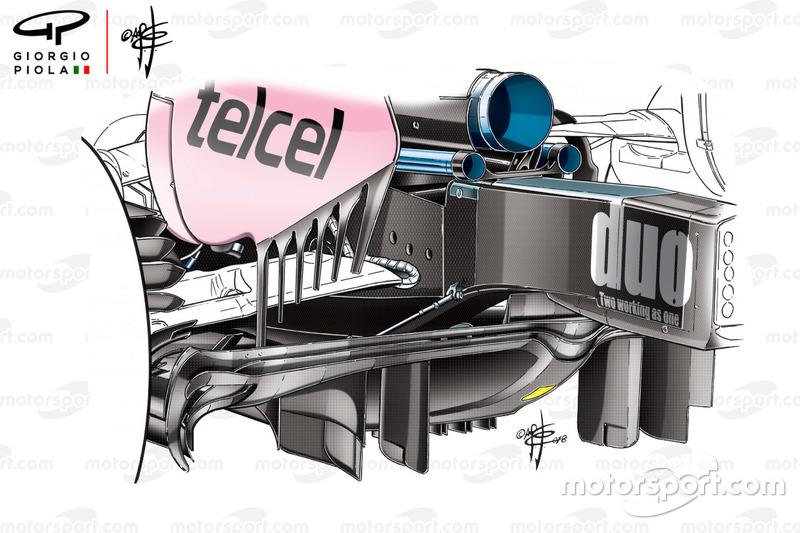 Nouveau diffuseur de la Force India VJM11, GP de Chine