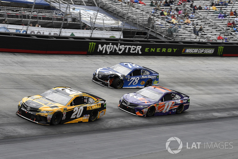 Erik Jones, Joe Gibbs Racing, Toyota Camry DeWalt, Denny Hamlin, Joe Gibbs Racing, Toyota Camry FedEx Freight, and Martin Truex Jr., Furniture Row Racing, Toyota Camry Auto-Owners Insurance