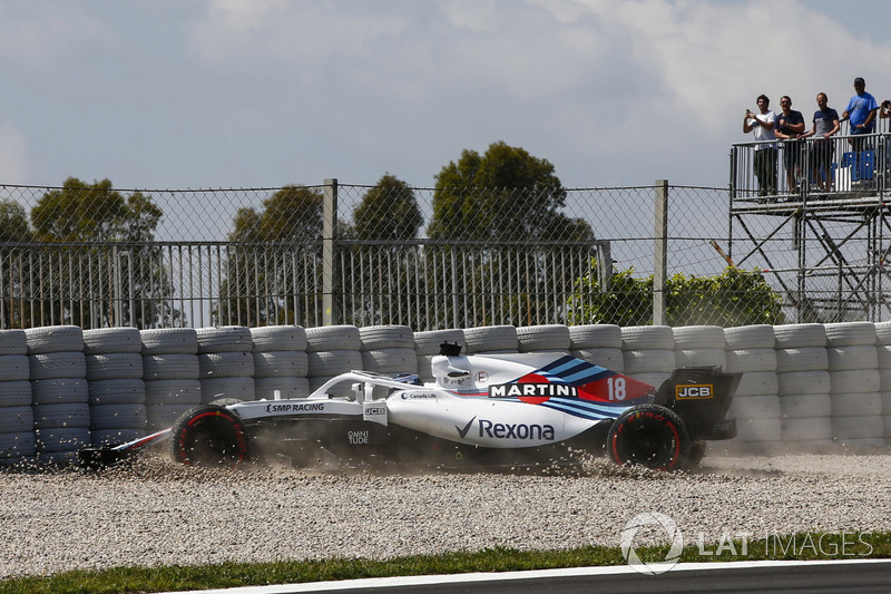 Lance Stroll, Williams FW41 crash