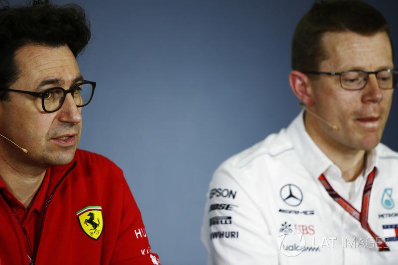 Mattia Binotto, director técnico de Ferrari junto a Andy Cowell, director ejecutivo de Mercedes AMG HPP