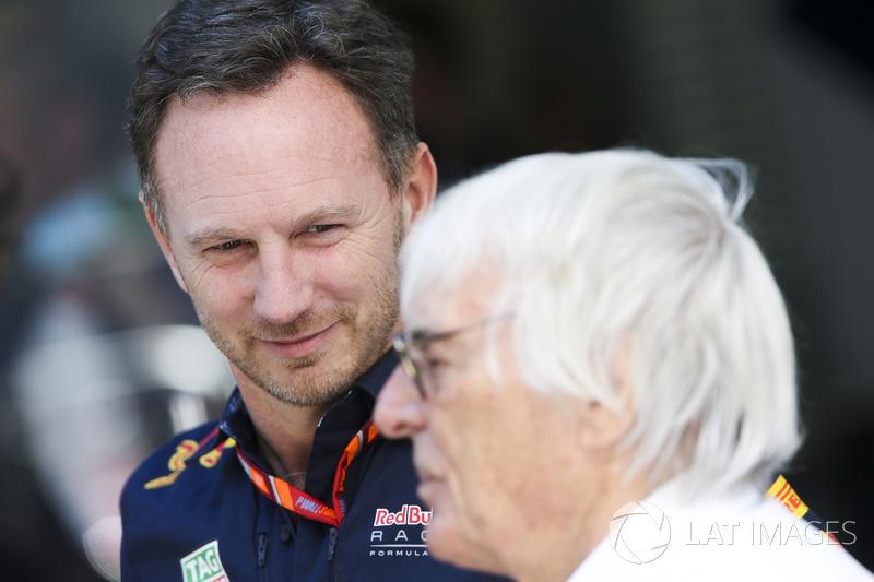 Christian Horner, Team Principal, Red Bull Racing, Bernie Ecclestone, Chairman Emeritus Formula 1