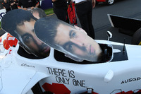 F1 Experiences 2-Seater and cardboard cut out faces of Daniel Ricciardo, Red Bull Racing and Max Verstappen, Red Bull Racing