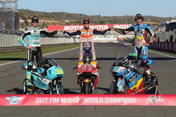 Moto3-kampioen Joan Mir, Leopard Racing MotoGP-kampioen Marc Marquez, Repsol Honda Team, Moto2-kampioen, Franco Morbidelli, Marc VDS