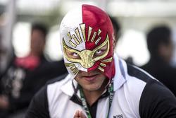 Fan with wrestling mask