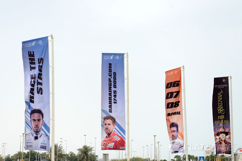 Bahrain GP flags and branding at the airport