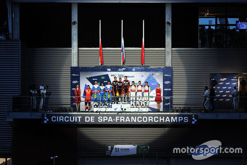 Podium LMP2: first place Roman Rusinov, Pierre Thiriet, Alex Lynn, G-Drive Racing, second place Juli