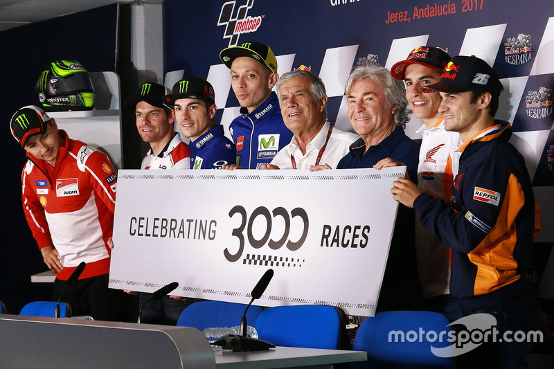 Celebration for the 3000 races rider line up