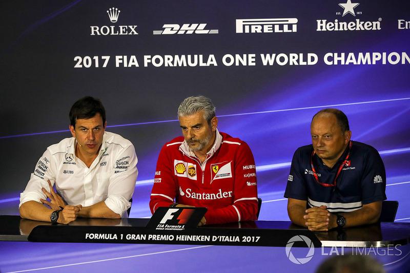 Toto Wolff, Mercedes AMG F1 Director of Motorsport, Maurizio Arrivabene, Ferrari Team Principal and Frederic Vasseur, Sauber Team Principal in the Press Conference
