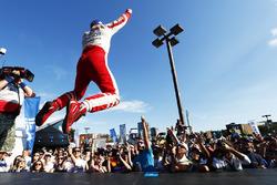 Felix Rosenqvist, Mahindra Racing, jumps onto the podium