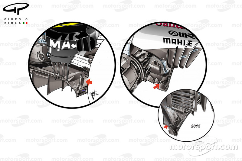 Williams FW40, Ferrari SF70H and Ferrari SF15-T diffuser upstands