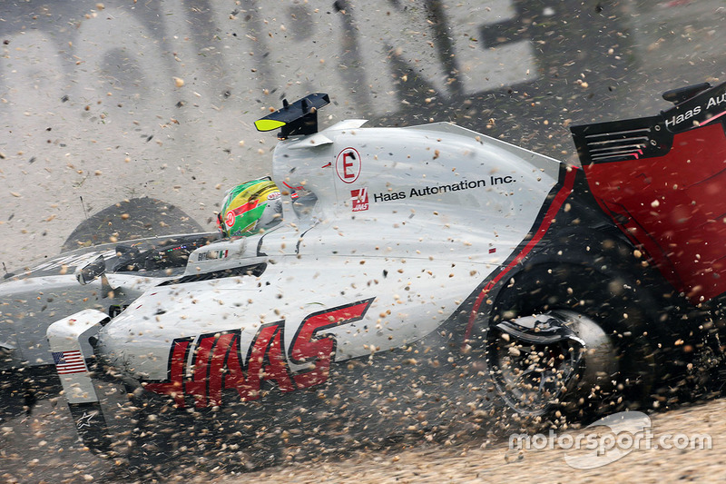 Point of contact: the damaged wheel of Gutierrez's Haas