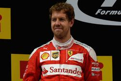 Podium: tweede Sebastian Vettel, Ferrari