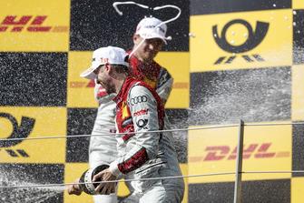 Podium: Winnaar René Rast, Audi Sport Team Rosberg en nummer twee Nico Müller, Audi Sport Team Abt Sportsline