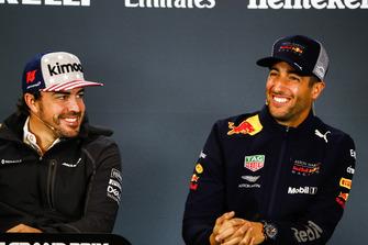 Fernando Alonso, McLaren, and Daniel Ricciardo, Red Bull Racing in the press conference