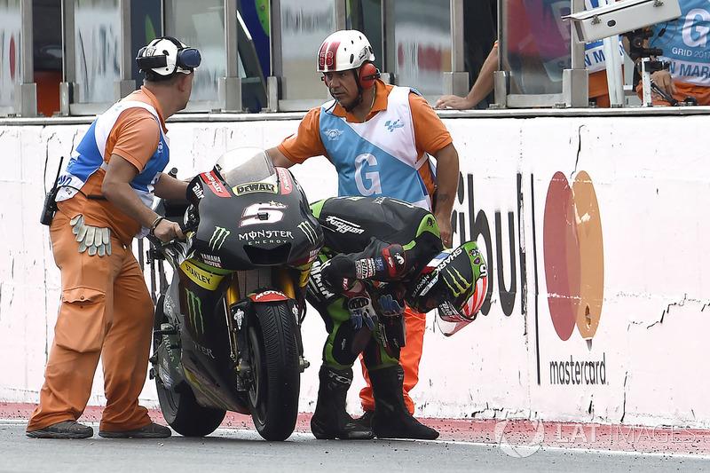 Жоанн Зарко, Monster Yamaha Tech 3 штовхає свій байк фінішною прямою