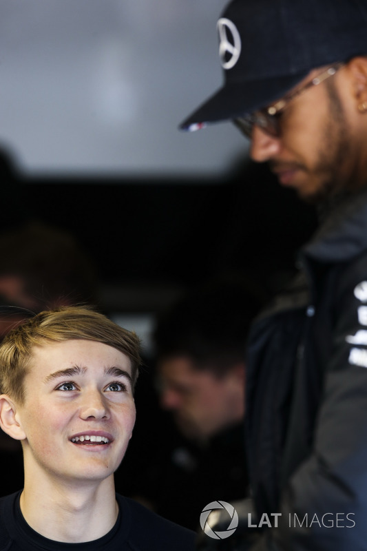 Lewis Hamilton, Mercedes AMG F1, talks, racing driver Billy Monger