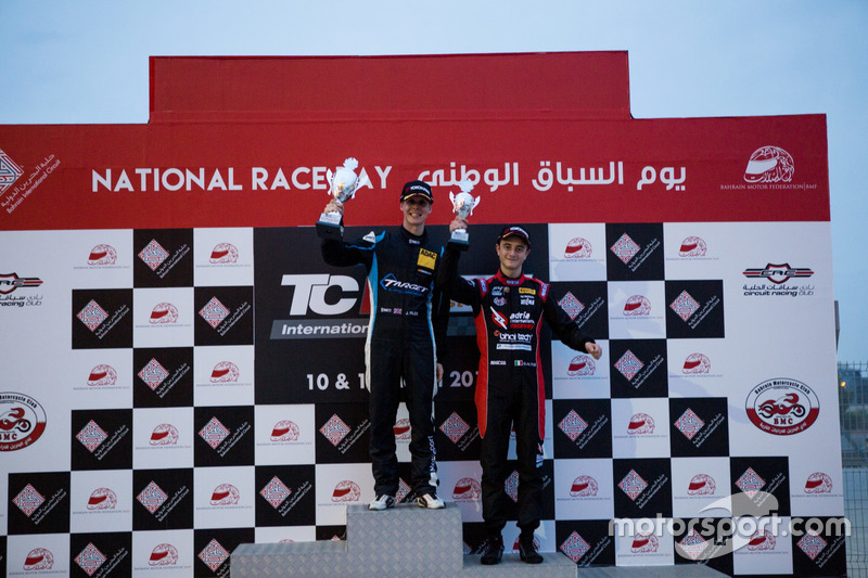 Podium: Race winner Josh Files, Lap57 Motorsport, Honda Civic TCR; third place Giacomo Altoè, Liqui