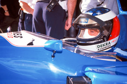 Michael Schumacher tests the Ligier JS39B Renault to evaluate the Renault V10 engine