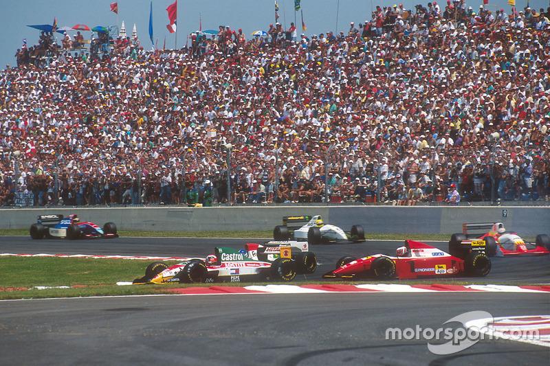 Johnny Herbert, Team Lotus 107B Ford, Derek Warwick, Footwork FA14 Mugen Honda, Gerhard Berger, Ferrari F93A