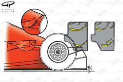 Ferrari F399 sidepod winglet and rear wing differences (high & low downforce)