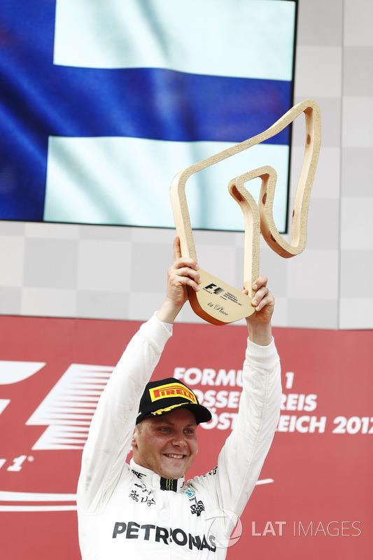 Valtteri Bottas, Mercedes AMG F1, raises his winner's trophy on the podium