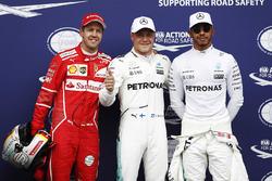 Polesitter Valtteri Bottas, Mercedes AMG F1, second place Sebastian Vettel, Ferrari, third place Lewis Hamilton, Mercedes AMG F1