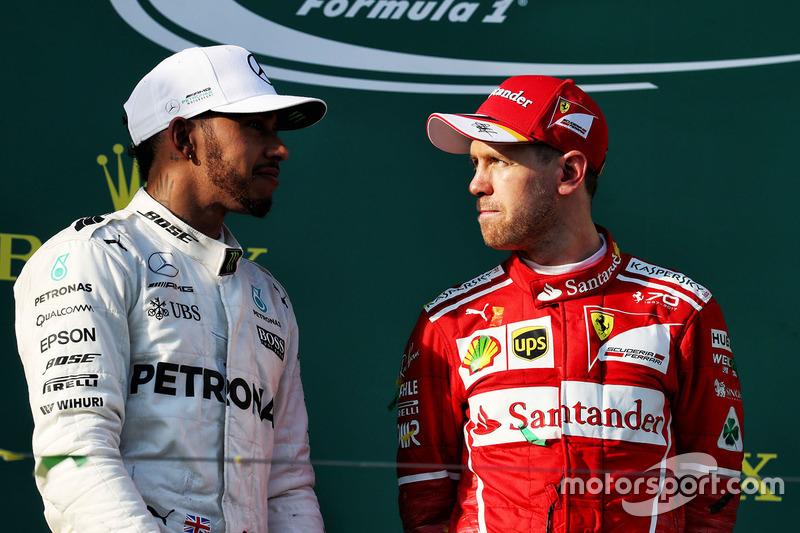 Podium: 1. Sebastian Vettel, Ferrari; 2. Lewis Hamilton, Mercedes AMG F1