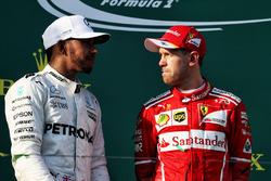Podium: winner Sebastian Vettel, Ferrari, second place Lewis Hamilton, Mercedes AMG F1