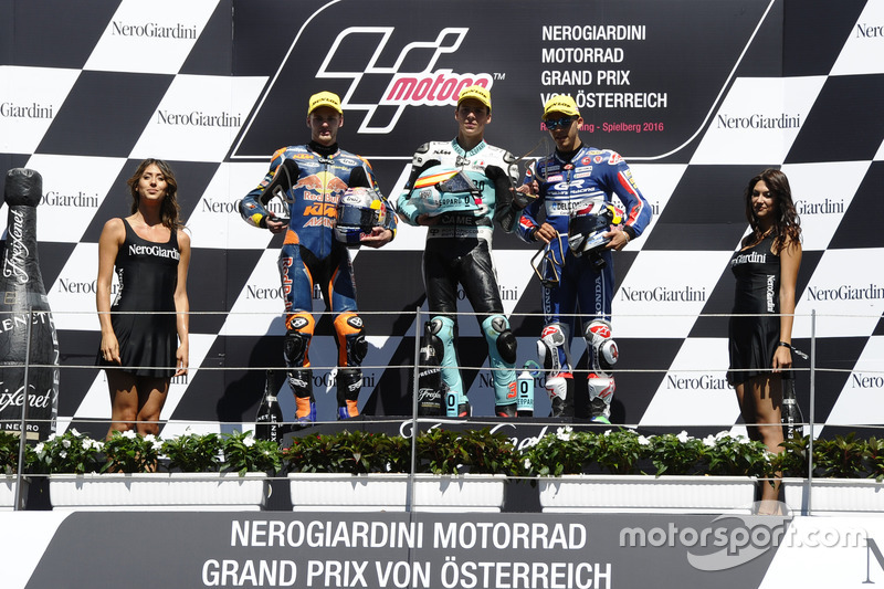 Podium: Race winner Joan Mir, Leopard Racing, KTM; second place Brad Binder, Red Bull KTM Ajo, KTM; third place Enea Bastianini, Gresini Racing Moto3, Honda
