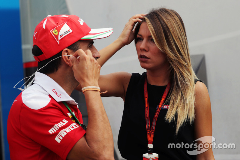 (L to R): Marc Gene, Ferrari Test Driver with Federica Masolin, Sky F1 Italia Presenter