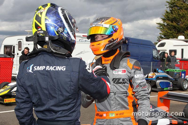 Ganador de la carrera, Matheus Leist, Double R Racing, y Enaam Ahmed, Douglas Motorsport