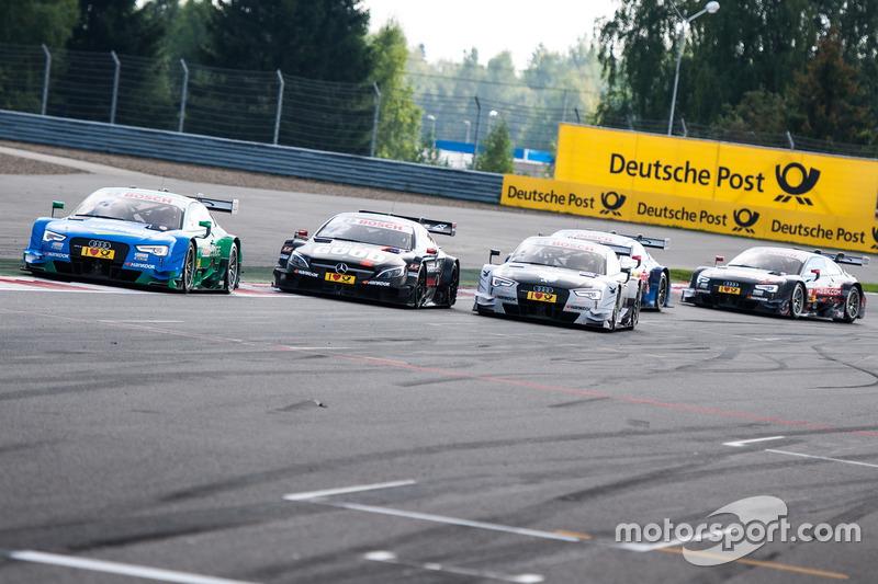 Edoardo Mortara, Audi Sport Team Abt Sportsline, Audi RS 5 DTM; Daniel Juncadella, Mercedes-AMG Team HWA, Mercedes-AMG C63 DTM; Nico Müller, Audi Sport Team Abt Sportsline, Audi RS 5 DTM