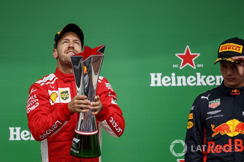Sebastian Vettel, Ferrari, 1st position, with his trophy and Max Verstappen, Red Bull Racing, 3rd po