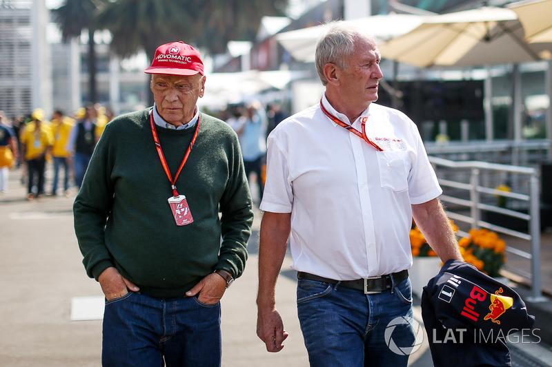 Niki Lauda, Mercedes AMG F1 y Dr Helmut Marko, Red Bull Motorsport