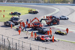 Cars after the crash at the start of the race